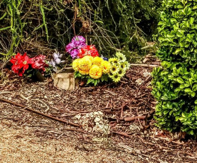 flowers at the cemetery