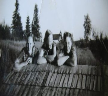 My mother (on the right) hanging out on the roof with 2 of her sisters. She was one of 15 kids. Mum (right side) on the roof with two of her sisters in a family of 15 kids