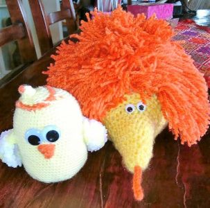 chicken and echidna toys
